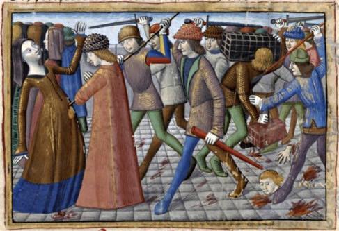 La révolte des cabochiens, par Martial d'Auvergne, enluminure issue de l'ouvrage Vigiles de Charles VII, Paris, France, XV°siècle.