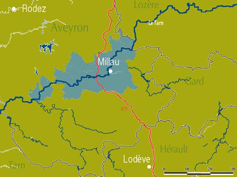 La carte des côtes de Millau