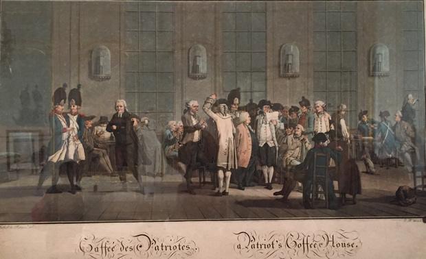 Le café des Patriotes en 1792 près le club des Jacobins, rue Saint-Honoré par Jean-Baptiste Morret – Musée Carnavalet