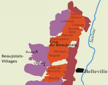 Carte des crus du Beaujolais