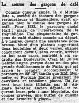"""Article du """" Petit Parisien"""" 28 novembre 1932"""