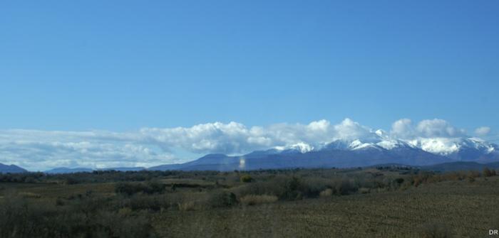 La chaîne des Pyrénées vue du Roussillon
