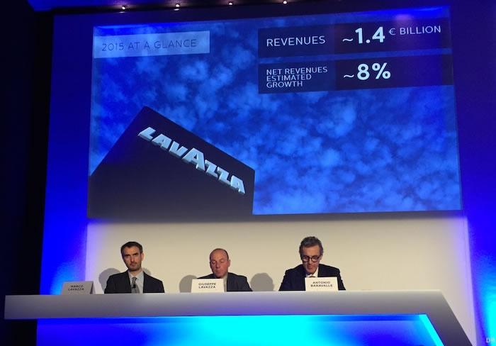 Marco Lavazza, Guiseppe Lavazza et Antonio Baravalle, dirigeants de Lavazza