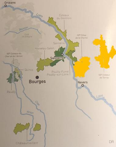 Carte du vignoble du Centre-Loire