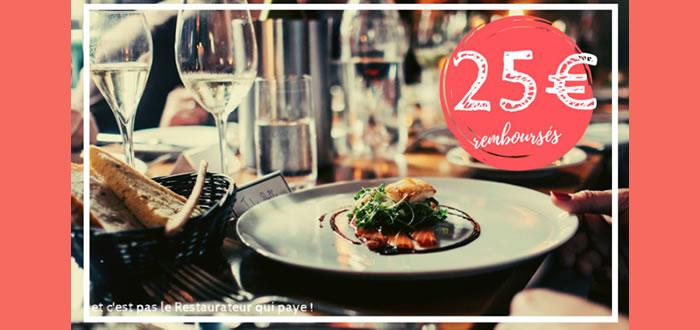 25 € remboursés pour toute réservation chez un Maitre Restaurateur
